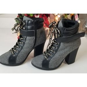 Juicy Couture Laced  up Booties, Gray,  6.5